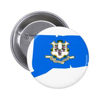 Mapa de la bandera de Connecticut Pin Redondo De 2 Pulgadas