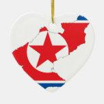 Mapa de la bandera de Corea del Norte Adorno Para Reyes