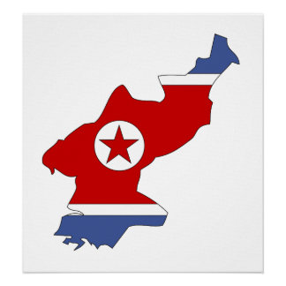 Mapa de la bandera de Corea del Norte del mismo Póster