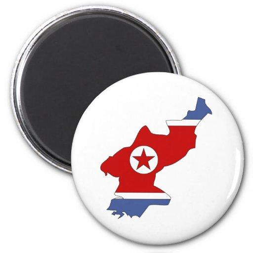 Mapa de la bandera de Corea del Norte del mismo ta Iman De Frigorífico