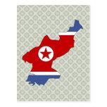 Mapa de la bandera de Corea del Norte del mismo ta Tarjeta Postal