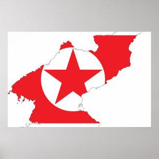 Mapa de la bandera de Corea del Norte Impresiones