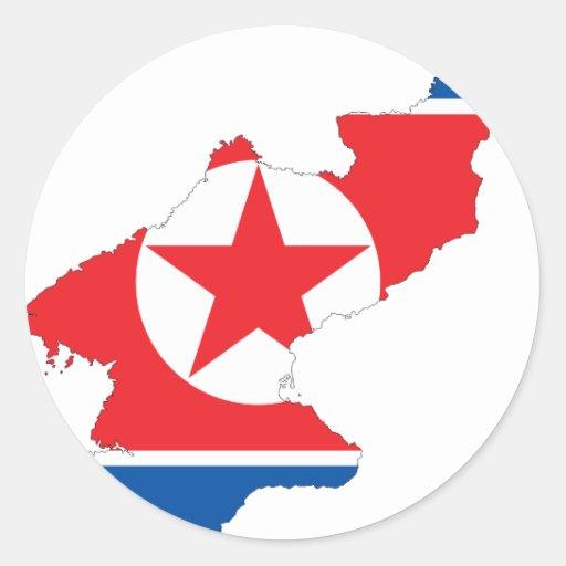 Mapa de la bandera de Corea del Norte Pegatina Redonda