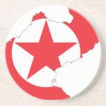 Mapa de la bandera de Corea del Norte Posavaso Para Bebida
