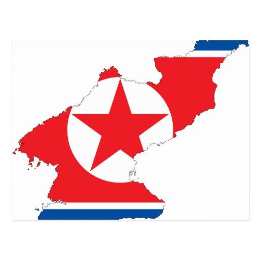 Mapa de la bandera de Corea del Norte Postales