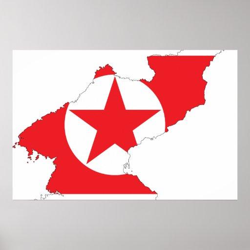Mapa de la bandera de Corea del Norte Póster