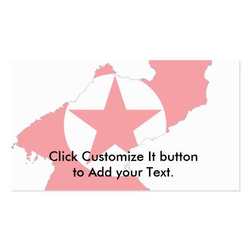 Mapa de la bandera de Corea del Norte Tarjeta De Visita