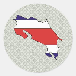 Mapa de la bandera de Costa Rica del mismo tamaño Pegatina Redonda