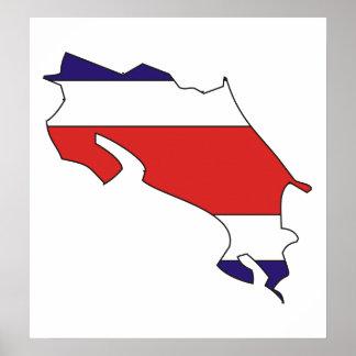 Mapa de la bandera de Costa Rica del mismo tamaño Póster