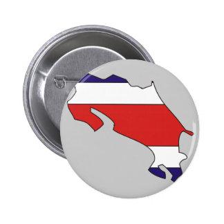 Mapa de la bandera de Costa Rica Pin Redondo 5 Cm