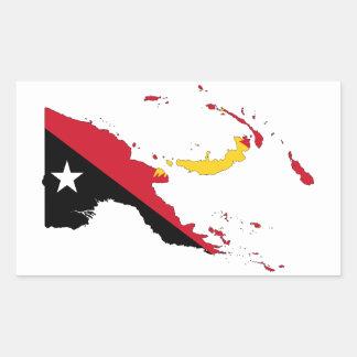 Mapa de la bandera de CUATRO Papúa Nueva Guinea Pegatina Rectangular