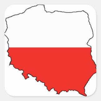 Mapa de la bandera de CUATRO Polonia Calcomania Cuadrada Personalizada