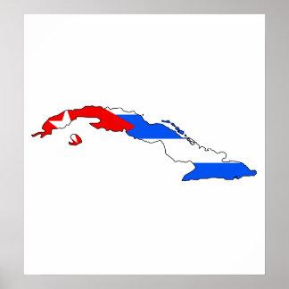 Mapa de la bandera de Cuba del mismo tamaño Posters
