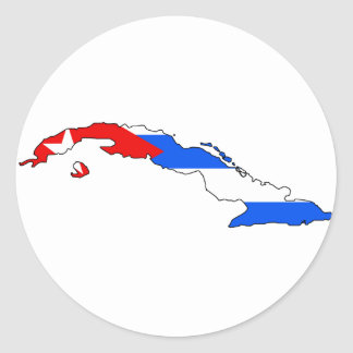 Mapa de la bandera de Cuba Pegatina Redonda