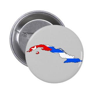 Mapa de la bandera de Cuba Pin Redondo De 2 Pulgadas