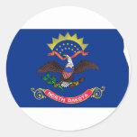 Mapa de la bandera de Dakota del Norte Etiquetas Redondas
