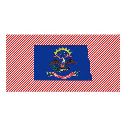 Mapa de la bandera de Dakota del Norte Tarjeta Fotografica