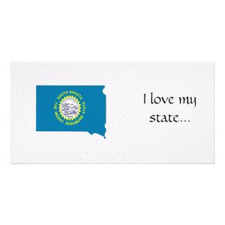 Mapa de la bandera de Dakota del Sur Tarjetas Fotograficas