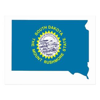 Mapa de la bandera de Dakota del Sur Tarjeta Postal