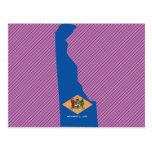 Mapa de la bandera de Delaware Tarjetas Postales