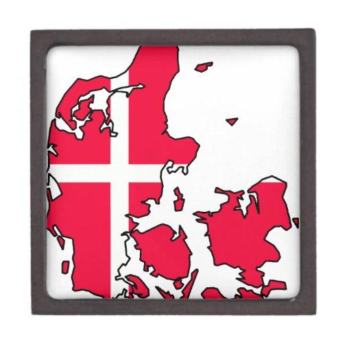 mapa de la bandera de Dinamarca Cajas De Regalo De Calidad