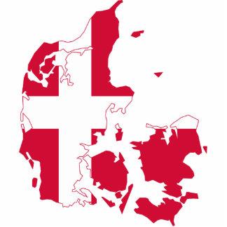Mapa de la bandera de Dinamarca Fotoescultura Vertical