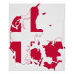 Mapa de la bandera de Dinamarca Impresiones