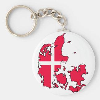 mapa de la bandera de Dinamarca Llavero Redondo Tipo Pin