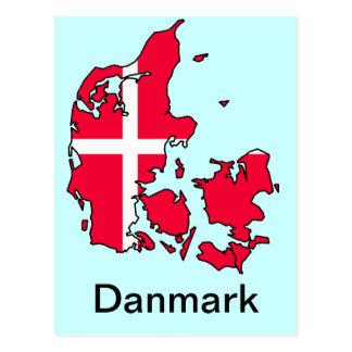 mapa de la bandera de Dinamarca Postal