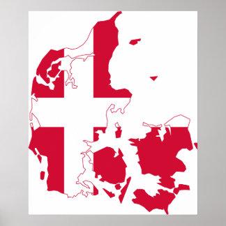 Mapa de la bandera de Dinamarca Póster