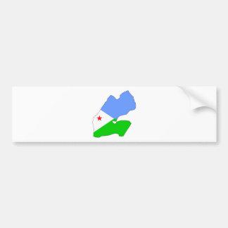 Mapa de la bandera de Djibouti del mismo tamaño Pegatina Para Auto