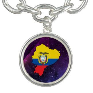 mapa de la bandera de Ecuador en fondo abstracto Pulseras Con Dijer