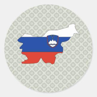Mapa de la bandera de Eslovenia del mismo tamaño Pegatina Redonda