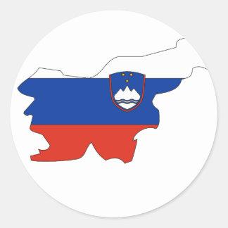 Mapa de la bandera de Eslovenia Pegatina Redonda