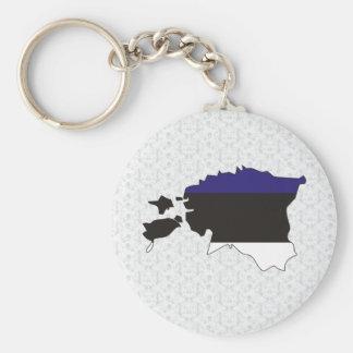 Mapa de la bandera de Estonia del mismo tamaño Llavero Redondo Tipo Pin