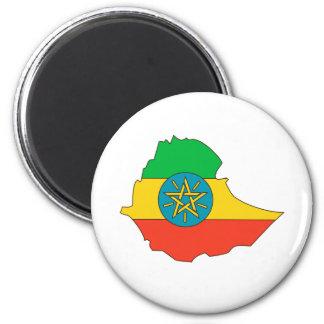 Mapa de la bandera de Etiopía del mismo tamaño Imán Redondo 5 Cm