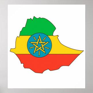 Mapa de la bandera de Etiopía del mismo tamaño Póster