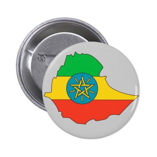 Mapa de la bandera de Etiopía Pin Redondo 5 Cm