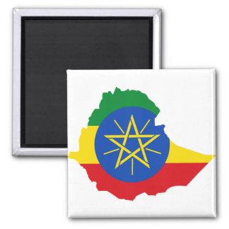 Mapa de la bandera de Etiopía Y Imán Cuadrado