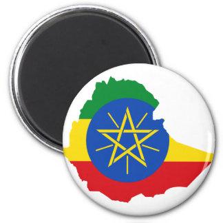 Mapa de la bandera de Etiopía Y Imán Redondo 5 Cm