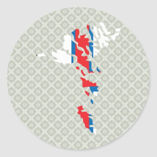 Mapa de la bandera de Faroe Island del mismo Pegatinas Redondas