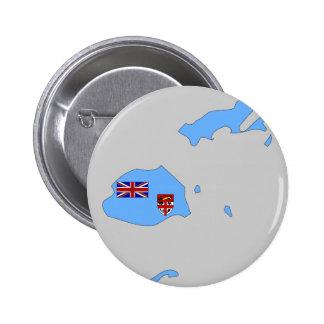 Mapa de la bandera de Fiji Pin Redondo De 2 Pulgadas