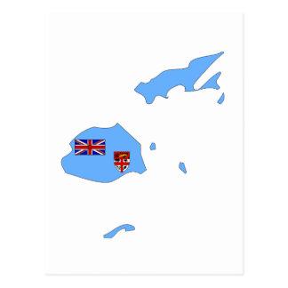 Mapa de la bandera de Fiji Tarjeta Postal