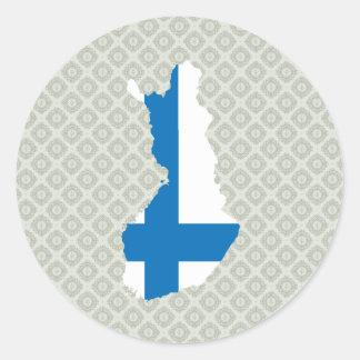 Mapa de la bandera de Finlandia del mismo tamaño Pegatinas Redondas