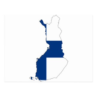 Mapa de la bandera de Finlandia Tarjetas Postales
