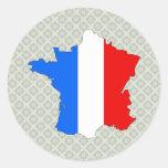 Mapa de la bandera de Francia del mismo tamaño Etiqueta Redonda