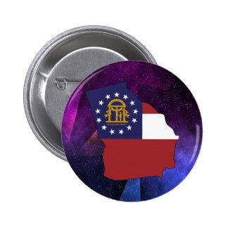 Mapa de la bandera de Georgia los E.E.U.U. en Pin Redondo De 2 Pulgadas