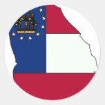 Mapa de la bandera de Georgia Pegatina Redonda