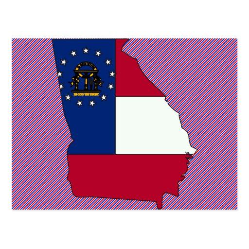 Mapa de la bandera de Georgia Tarjeta Postal