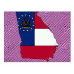 Mapa de la bandera de Georgia Tarjetas Postales